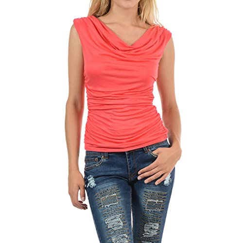 4cb998ea47bbe8 Auliné Collection Womens Career Solid Color Ruched Cowl Neck Casual Blouse  Top