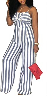 SheKiss Womens Striped Spaghetti Strap Summer Jumpsuits Sexy Tie Bowknot Long Pants Rompers