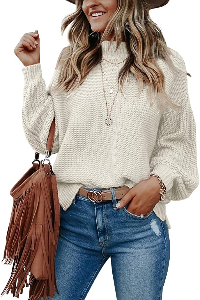 Imily Bela Womens Mock Neck Fall Sweaters Trendy Balloon Sleeve Slouchy Knit Pullover Jumper