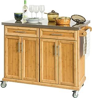 SoBuy wyspa kuchenna na kółkach z 4 drzwiami wózek kuchenny z 2 szufladami Brązowy FKW69-N
