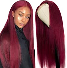 UNICE Hair 10A Burgundy Straight Lace Closure Human Hair Wigs for Black Women Brazilian Remy Hair Red Human Hair T Part Wig Pre Plucked with Baby Hair 99J Color 20 inch