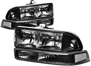 DNA Motoring HL-OH-S10984P-BK-CL1 Black Housing Clear Corner Headlights Replacement For 98-04 Blazer S10