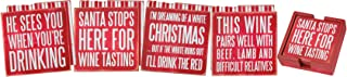Primitives By Kathy Box Sign Coasters (Set of 4) - Xmas Wine