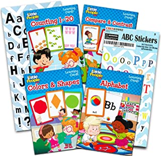 Preschool Flashcards for Toddlers Kids Learning Set, 2-4 Years -- 4 Packs of Toddler Flashcards with Alphabet Stickers (ABC Flash Cards, Numbers Flash Cards, Colors and Shapes, Compare and Contrast)