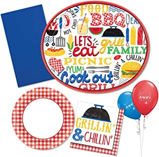 BBQ Grill Picnic Supply Pack for 36- Disposable Paper Plates and Napkins in Red n White Gingham, Blue and Yellow