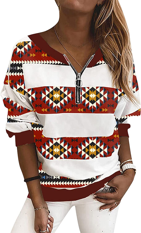 Aiouios Women Fashion 1/4 Zip Pullover Long Sleeve Hooded Sweatshirts Casual Splice Print Activewear Running Tunic Tops