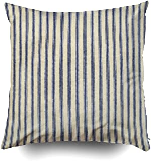 Musesh Inspirational Throw Pillow Cover,Holiday Throw Pillow Case, Retro Ticking Blue White Striped Vintage French for Sofa Home Decorative Pillowcase Pillow Covers
