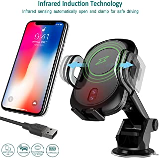 GOSETH Wireless Car Charger Mount Automatic Induction,Fast Charger Air Vent&Bracket Holder Compatible iPhone 11 Pro Max/11 Pro/11/Xs/XR/Xs Max/X,Samsung S10e/S10/S10+/S9+/Edge &Qi Certified