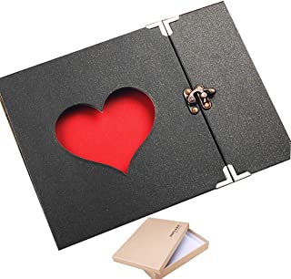 ARHSSZY 10inch Hollowed Heart Photo Album Memory Pictures Storage Holder Case Scrapbook Cover DIY Craft Wedding Graduation...