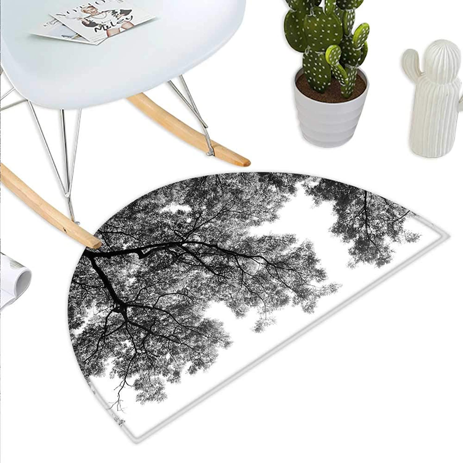 Nature Semicircle Doormat Photograph of Trees from The Ground with Branches and Leaves Artwork Image Halfmoon doormats H 43.3  xD 64.9  Black and White