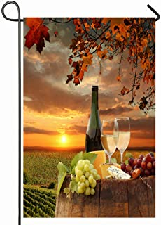 Ahawoso Outdoor Garden Flag 12x18 Inches Area Red Fall White Wine Barrel On Vineyard Against Nature Parks Harvest Italy Agriculture Alcohol Seasonal Home Decorative House Yard Sign