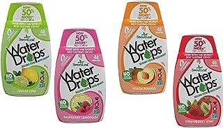 SweetLeaf Water Drops 4 Flavor Variety Bundle 2 each: Strawberry Kiwi, Raspberry Lemonade, Peach Mango and Lemon Lime (8 t...