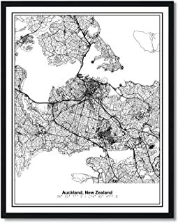 Susie Arts 11X14 Unframed Auckland New Zealand Metropolitan City View Abstract Street Map Art Print Poster Wall Decor V371