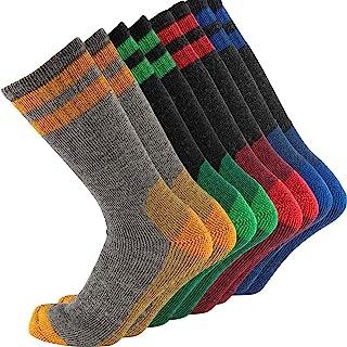 CEREBRO Merino Wool Socks for Men, Cushioned Mid-calf Socks Moisture Wicking Men's Hiking Socks for Home, Trekking, Outdoors