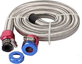 """CarBole Universal Steel Braided Fuel Line for 3/8""""Tube Size with Red/Blue Clamps"""