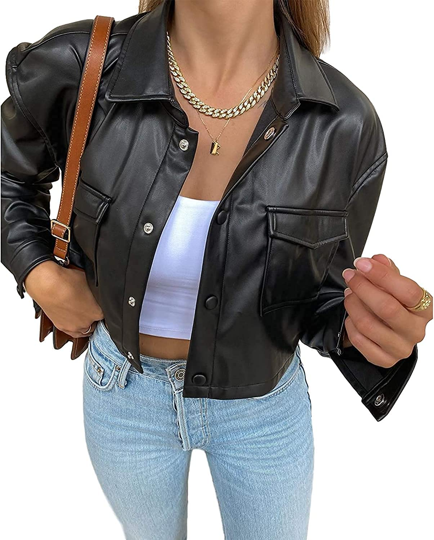 Max 51% OFF Women's PU Leather Cropped wholesale Jacket Blazer Long Fashion Sleev Coat
