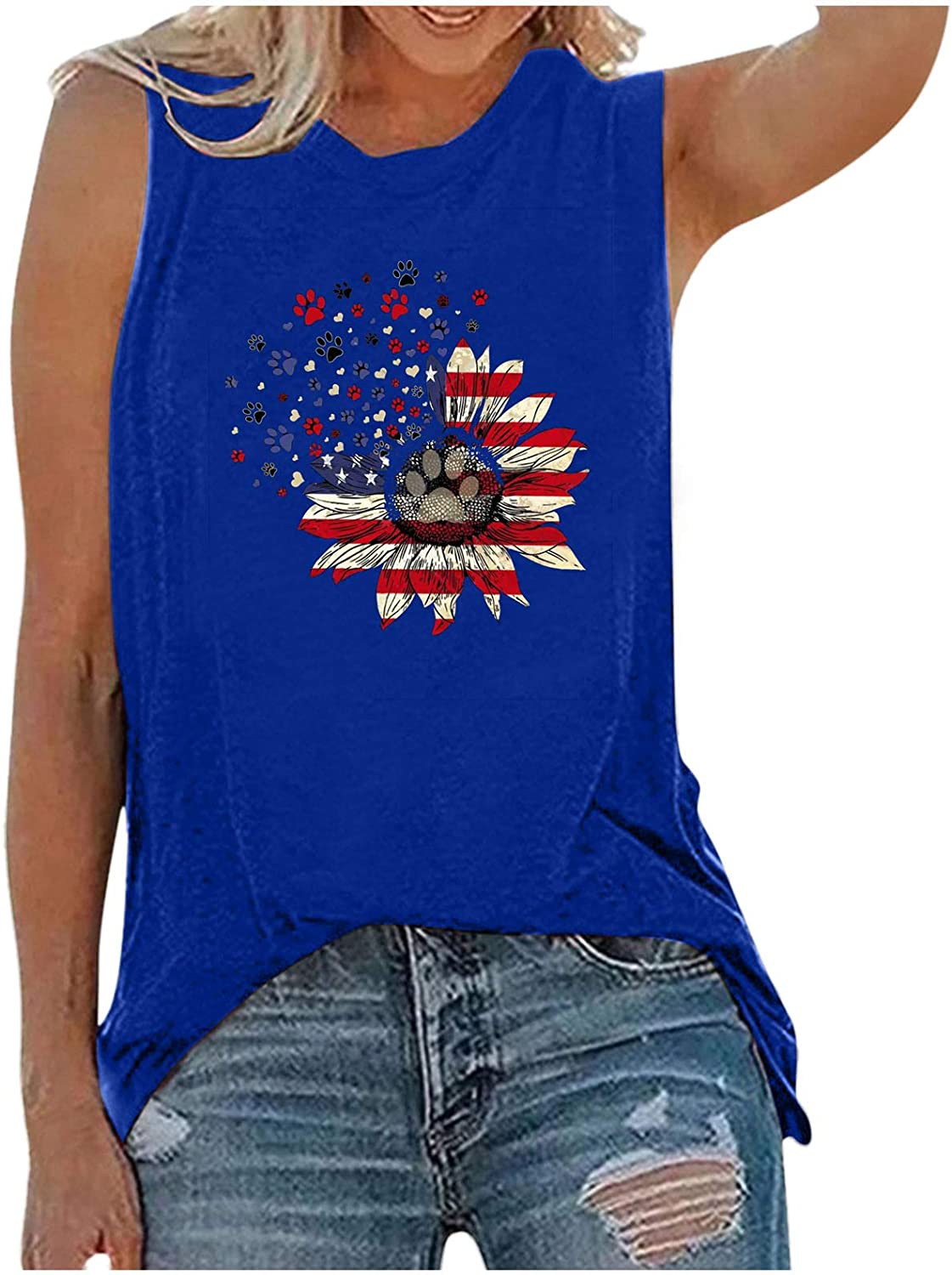 XUETON Sleeveless Tank Top for Women American Flag Sunflower Printed Graphic Blouse Casual Loose Fitting Shirts