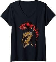 Womens Retro Vintage Spartan Helmet Warrior Trojan Warrior for men V-Neck T-Shirt