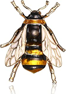 Women Vintage Enamel Bee Crystal Brooch Lapel Pin Badge Costume Jewelry Gift | Color - Yellow