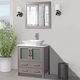 Vanity Art 30 inch Single Sink Small Bathroom Vanity Set 2-Drawers, 1-Shelf Quartz Top and Ceramic Vessel Sink Bathroom Cabinet with Mirror - VA3130-G