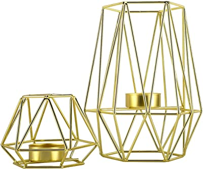 HighFree Metal Wire Iron Tealight Candle Holders for Tables Decor Living Room Bathroom Decorations Gold Geometric Shape Holders Set of 2 (Gold)