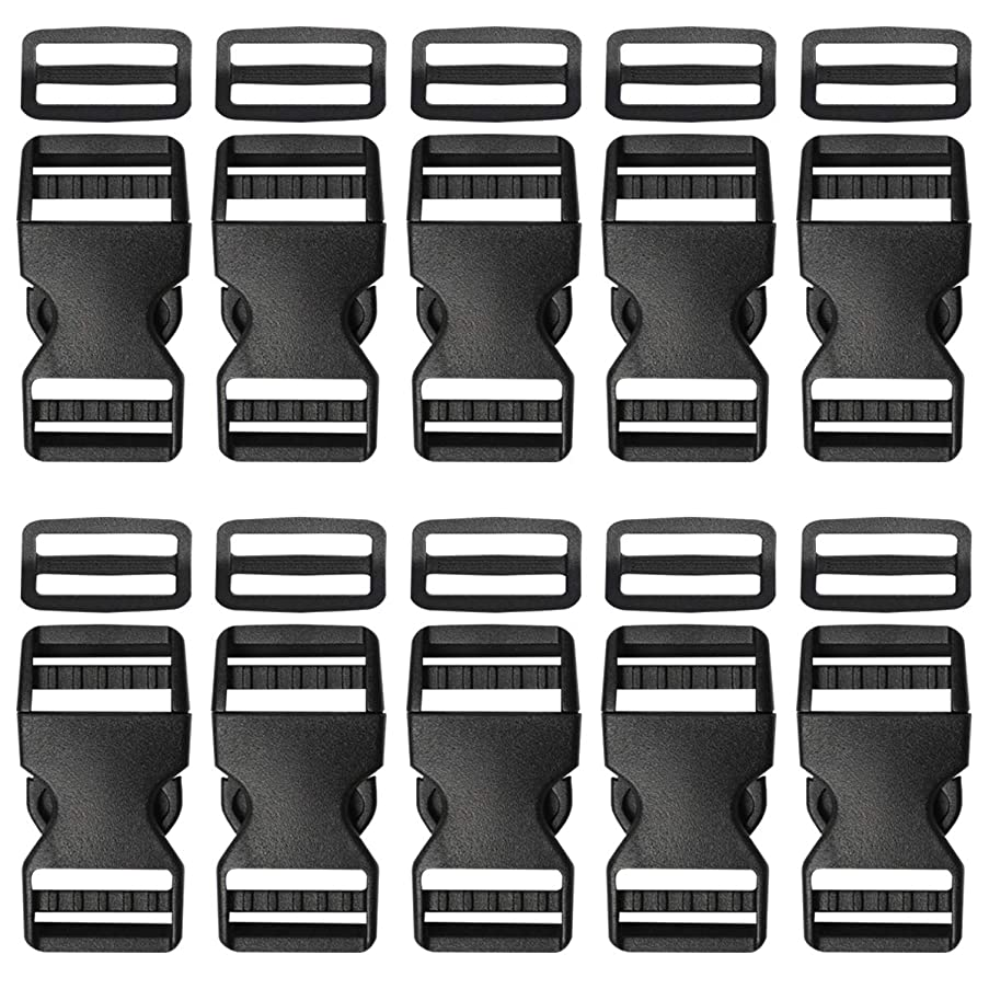 Plastic Buckle 1 Inch | Dual Adjust Side Quick Release Replacement Clips with Slides for Dog Collars, Webbing Strap and Backpack Repair | Black, 10 Sets
