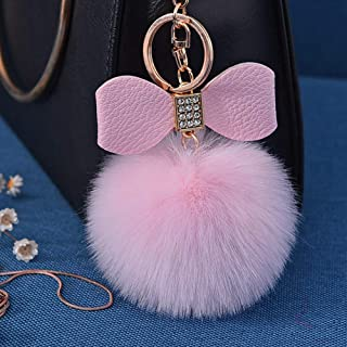 Ilishop Keychain with Artificial Fox Head and Ball for Womens Bag or Car Pendant