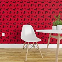 Spoonflower Peel and Stick Removable Wallpaper, Rockabilly Retro Psychobilly 50S 1950S Cherries Print, Self-Adhesive Wallpaper 24in x 108in Roll