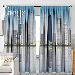 NUOMANAN Bedroom Curtains Chicago Skyline,Skyscrapers Lake Michigan Illinois Classic American Scenery Street, Baby Blue Pale Grey,Insulating Room Darkening Blackout Drapes 54