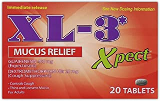 XL-3 Xpect | Mucus Relief for Bronchitis, Sinus Infection, Nasal Congestion with Guaifenesin and Dextromethorphan; 20 Tablets