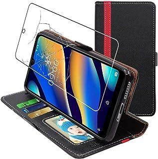 ebestStar – kompatibel med Wiko View3 Lite fodral (2019) plånboksfodral PU-läder med flipphållare, svart/röd + härdat glas...