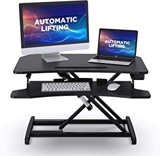 """ABOX Standing Desk with Electric Powered Lifting Converter, 34"""" Height Adjustable Sit Stand Desk Riser, Dual Monitors Remo..."""