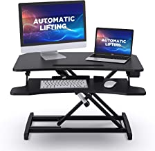 "ABOX Standing Desk with Electric Powered Lifting Converter, 34"" Height Adjustable Sit Stand Desk Riser, Dual Monitors Remo..."