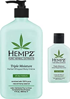 Hempz Triple Moisture Herbal Whipped Body Creme 17 oz + 2.25 oz Travel Size | Shrink Wrapped in Strong Box for Storage