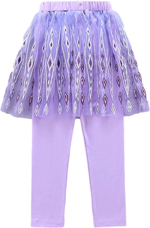 Aislor Kids Girls Snowflake Print Pantskirt Athletic Leggings Yoga Workout Divided Skirt Cotton Pants with Mesh Tutu Skirts