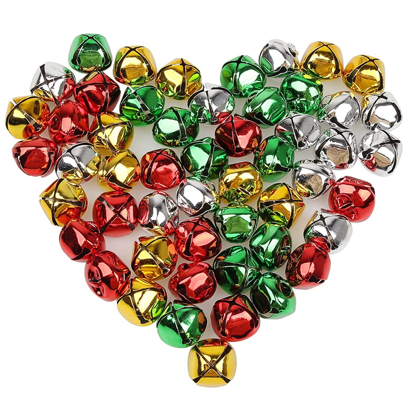 Pengxiaomei 50 PCS Jingle Bells, Colorful Christmas Bells, 1 Inch Craft Bells Bulk Loose Beads Charms for Party & Festival Decorations and Jewelry Making
