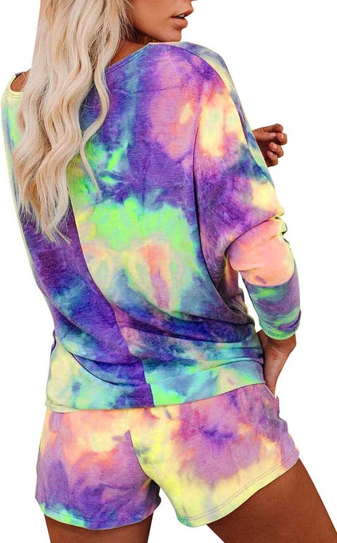 LaSuiveur Women's 2 Piece Tie Dye Tops and Shorts Loungewear Pajamas Suit