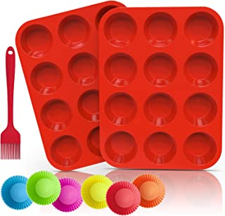 Ozera 2 Pack Silicone Muffin Pan, Cupcake Pan 12 Cups Muffin Tin Pan Tray, Silicone Baking, Come with Silicone Brush & 6 Silicone Baking Cups