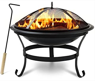 Sorbus FP-BWL30A fire Pit Log Grate, Curved Legs, and Poker Tool, BBQ Grill for Outdoor, Bowl 30''