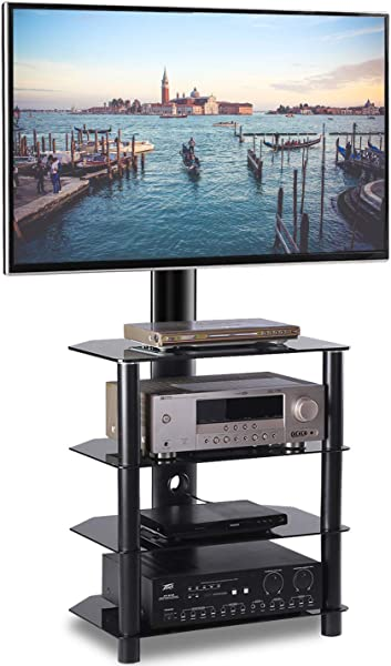 TAVR 4 Tiers Media Component TV Stand With Swivel Mount Audio Shelf And Height Adjustable Bracket Suit For 32 37 42 47 50 55 Inch LCD LED OLED TVs Or Curved TVs TW1004