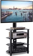 TAVR 4-Tiers Media Component TV Stand with Swivel Mount Audio Shelf and Height Adjustable Bracket Suit for 32 37 42 47 50 55 inch LCD, LED OLED TVs or Curved TVs TW1004