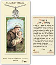 Enlightened Expressions Pewter St. Saint Anthony of Padua Medal Pendant Necklace on an 24in Stainless Silver Heavy Curb Chain with a Prayer to St Anthony Prayer Card