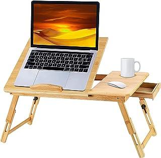 ノートパソコンデスク幅竹製 ベッドテーブル ローテーブル 折りたたみ式 多機能 角度&高さ調節可能 収納付き ナチュラル ローテーブル