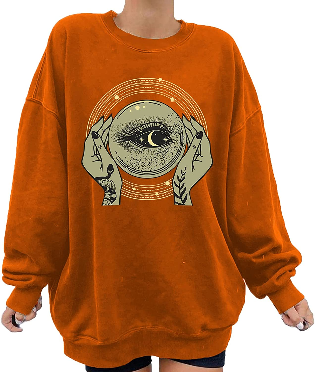 Fall Clothes for Women Graphic Lon Size Printed 5 popular Plus Sweatshirts New product