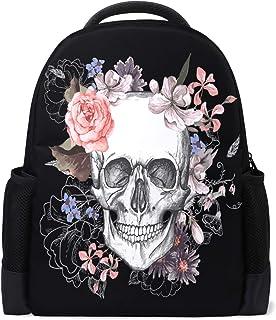 Vdsrup Day of The Dead Backpack Floral Skull Bookbag Laptop Book Bag Casual Water Resistant Day Pack Travel Sports Daypack for Men Women
