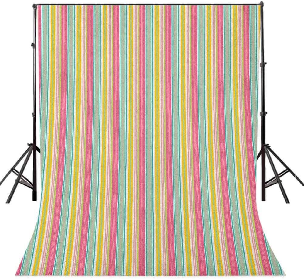 8x12 FT Teal and White Vinyl Photography Backdrop,Colorful Bold Lines in Vertical Order Cheerful Summer Design Background for Baby Birthday Party Wedding Graduation Home Decoration