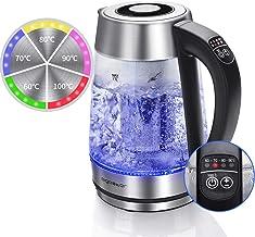 Aigostar Cris - Glas Wasserkocher mit Temperatureinstellung (60°C-100°C) Farbwechsel LED Beleuchtung, 2200Watt 1.7L Wasserkocher Edelstahl, Teesieb und Kalkfilter, Warmhaltefunktion.