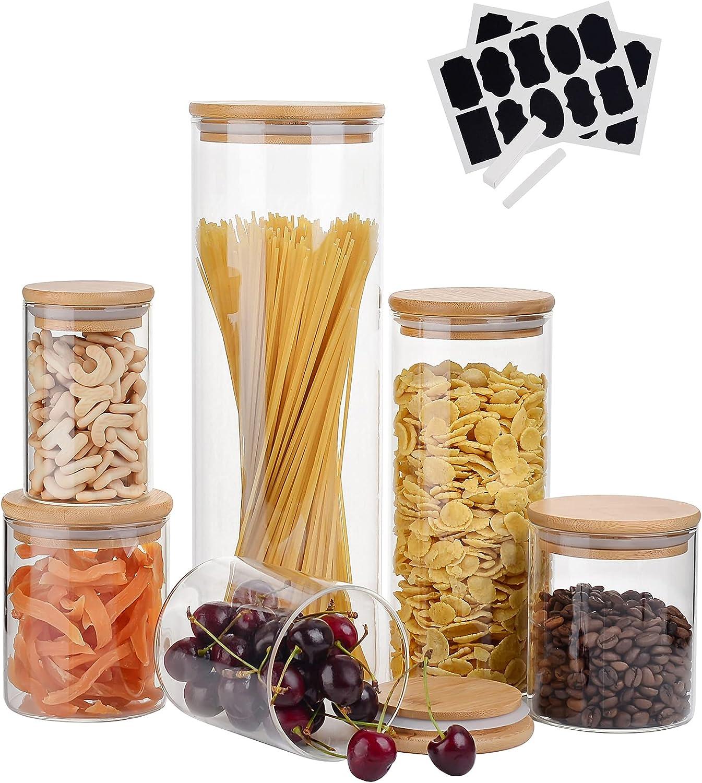 Amisglass Tarros de Cristal Borosilicato, 6 Piezas de Recipientes Vidrio para Alimentos con Tapa HerméTica de Bambú, Botes Conservas con Etiqueta y Marca de Tiza para Espaguetis, Cereales