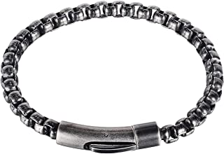 Katenpid Mens Hip Hop Stainless Steel Chain Link Bracelet,Buckle Closure,Gold/Silver/Black/Grey