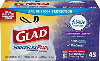 135-Count Glad 13 Gallon Tall Kitchen Drawstring Trash Bags